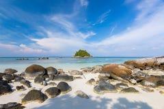Beautiful tropical white sand and rock near the Serendipity Beach Resort at Lipe Island, Satun Province, Thailand. stock photography