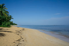 Beautiful tropical white sandy beach in Las Terrenas,  Dominican Royalty Free Stock Images