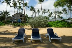 Beautiful tropical white sandy beach with sun loungeres   in Las Stock Photos