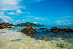 Beautiful tropical wild beach in island Phu Quoc. White sand Royalty Free Stock Photos