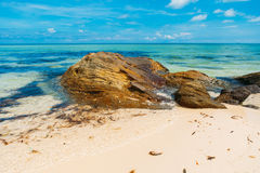 Beautiful tropical wild beach in island Phu Quoc. White sand Royalty Free Stock Photography