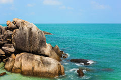 Beautiful tropical wild beach in island Samui, Thailand Stock Photography
