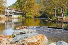 Beautiful trout stream flowing through Cherokee NC Royalty Free Stock Photography
