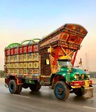 Beautiful truck with Pakistani tradition and culture stock photography