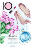Beautiful tulip flowers with cute parfum, stylish shoes and cosmetics.. Hand drawn fashion set. Sketch. Vector illustration Stock Image