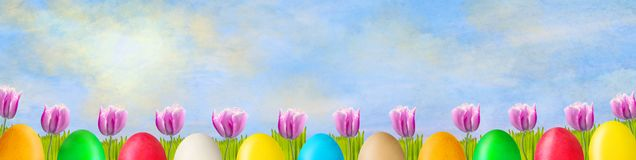 Beautiful tulips and colorful Easter eggs on a sunny cloudy sky. Easter background. Happy Easter banner. stock photography