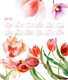 Beautiful tulips flowers. Calendar for 2013 with Beautiful tulips flowers Stock Photography