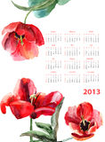 Beautiful Tulips flowers. Calendar for 2013 with Beautiful Tulips flowers Stock Image