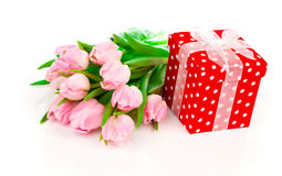 Beautiful tulips with red polka-dot gift box. Stock Photo