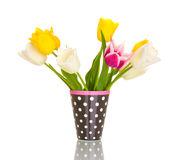 Beautiful tulips in vase stock photography