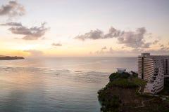 Beautiful Tumon Bay at dusk in Guam. Guam, USA - December 07, 2014 : Hotel Nikko Guam with beautiful Tumon Bay at dusk in Guam Royalty Free Stock Photography