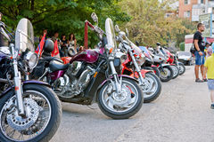 Beautiful tuning motorcycles and bikes are on exhibition in the Stock Photos