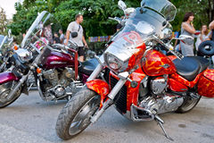 Beautiful tuning motorcycles and bikes are on exhibition in the Royalty Free Stock Photo