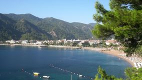 Beautiful Turkish hotel coast line video of Marmaris stock video footage