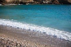 Beautiful turquoise aegean sea in turkish kabak bungalow resort, turkey Royalty Free Stock Images