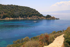 Beautiful turquoise bay, Ammuliani island, Halkidiki, Greece. Royalty Free Stock Photos