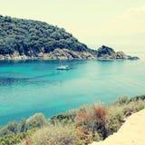 Beautiful turquoise bay, Ammuliani island, Halkidiki, Greece. Stock Photography