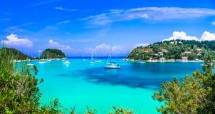 Beautiful turquoise bay in Lakka. Paxos. Ionian islands Royalty Free Stock Photos