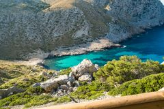 Beautiful turquoise bay seascape. Mallorca, Balearic Islands Spain, Mediterranean Sea Stock Photo