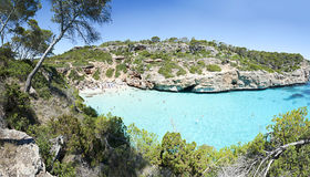 Beautiful turquoise clear water at Majorca beach, Calo des Moro,. Beautiful turquoise clear water of mediterranean at Majorca beach Calo des Moro, Spain Royalty Free Stock Images