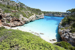 Beautiful turquoise clear water at Majorca beach, Calo des Moro,. Beautiful turquoise clear water of mediterranean at Majorca beach Calo des Moro, Spain Royalty Free Stock Photography