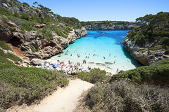 Beautiful turquoise clear water at Majorca beach, Calo des Moro, Stock Photos