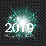 Beautiful turquoise fireworks with a bright flash of light and the words Happy New Year 2019 on transparent background. Eps 10. Vector stock illustration