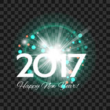 Beautiful turquoise fireworks with  greetings  Happy New Year 20. Beautiful turquoise fireworks with a bright flash of light and the words Happy New Year 2017! Stock Images