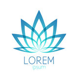 Beautiful turquoise lotus flower logo sign Stock Photography