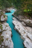 Beautiful turquoise mountain river. Soca (Isonzo), Julian Alps, Slovenia. Popular touristic destination Stock Photography