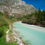 Beautiful turquoise mountain river Soca. Beautiful turquoise mountain river. Soca (Isonzo) river, Julian Alps, Slovenia. Popular touristic destination Stock Image