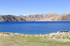 Beautiful turquoise Pangong Lake in Leh, India Royalty Free Stock Photo