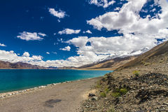 Beautiful turquoise Pangong Tso lake-Ladakh, India Royalty Free Stock Photo