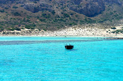 Beautiful turquoise sea and boat. Beautiful turquoise Mediterranean sea and boat Royalty Free Stock Photos