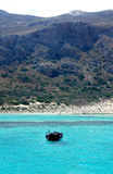 Beautiful turquoise sea and boat. Beautiful turquoise Mediterranean sea and boat Royalty Free Stock Images