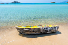 Beautiful turquoise sea and the old boat Royalty Free Stock Image
