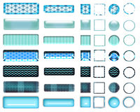 A beautiful turquoise selection of website buttons in different shapes. A colorful turquoise selection of buttons to add to your website on the internet Royalty Free Stock Photography