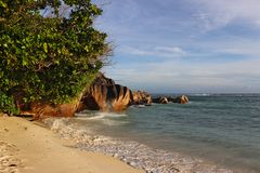 Beautiful turquoise water and granite rocks at Source d'argent royalty free stock photography