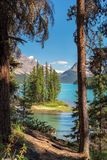 Scenic view on Spirit Island from hiking trail in Maligne Lake, Jasper National Park, Alberta, Canada. Beautiful turquoise waters of the Maligne Lake and Spirit Stock Photography