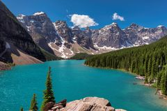 Rocky Mountains - Moraine lake in Banff National Park of Canada Royalty Free Stock Photo