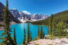 Moraine lake in Canadian Rockies, Banff National Park, Canada. Stock Images
