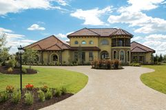 Beautiful Tuscany home. Tuscany Style home in subdivision Royalty Free Stock Photo