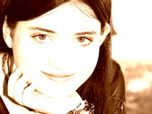 Beautiful Tween Girl In SepiaTones royalty free stock photos