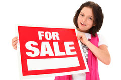 Beautiful Tween with For Sale Sign royalty free stock photos