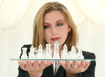 Beautiful Twenty Five Year Old Business Woman With Chess Set stock photo