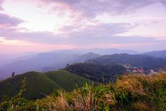 Beautiful twilight landscape on mountains at the Thai - Myanmar Stock Images