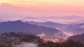 Beautiful twilight mountain mist in rain forest. Stock Photo