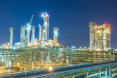 Beautiful twilight of refinery plant Stock Photo