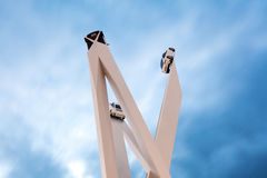Beautiful Twilight Shot of Gerry Judah's Porscheplatz at the Stu Stock Images