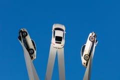 Beautiful Twilight Shot of Gerry Judah's Porscheplatz at the Stu Stock Image